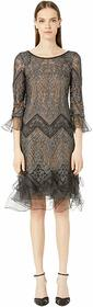 Marchesa Metallic Chevron Lace Mini Dress