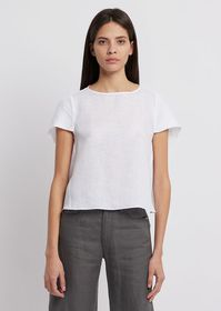 Armani Flax linen blouse with asymmetric sleeves