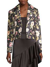Alice + Olivia Cody Floral Printed Leather Jacket