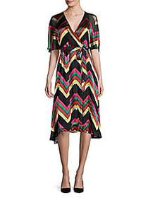 Alice + Olivia Lexa Stretch Silk Wrap Dress MULTI