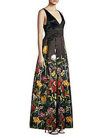Alice + Olivia Chantal Floral Satin Pleated A-Line