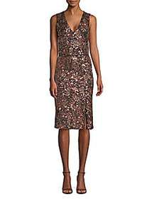 Alice + Olivia Natalie Sequin V-Neck Dress ROSE GO