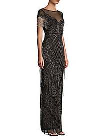 Parker Black Braxton Short-Sleeve Beaded Gown BLAC