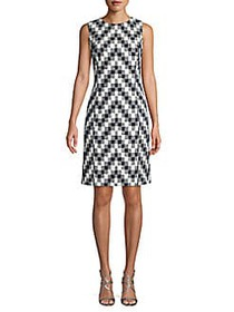 Oscar de la Renta Chevron Cotton Blend Sheath Dres