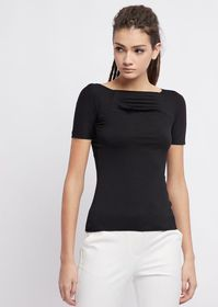 Armani Short-sleeved sweater in stretch jersey wit