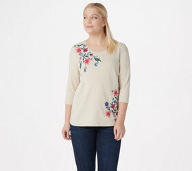 """""""As Is"""" Denim & Co. French Terry 3/4-Sleeve Top wi"""