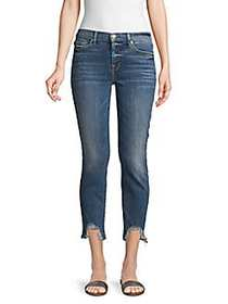 7 For All Mankind Distressed Cropped Skinny Jeans