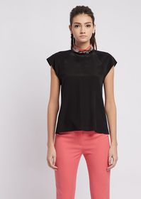 Armani Mulberry silk blouse with collar embroidere