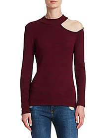 Red Haute Cutout Mockneck Sweater BURGUNDY
