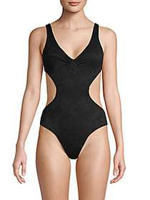 L*Space Open-Back One-Piece Swimsuit BLACK