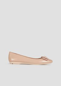 Armani Leather ballet flats with bow and logo appl