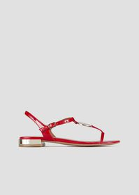 Armani Patent leather sandals with mirrored detail