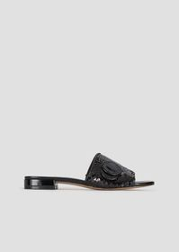 Armani Flat sandals with sequins and logo buckle