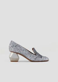 Armani Glitter-coated nappa leather pumps with chr