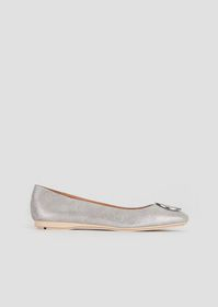Armani Suede and metal ballet flats with logo meda
