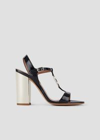 Armani Sandals with mirror-finish heels and medall