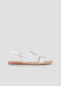 Armani Flat sandals in leather with hexagonal gems