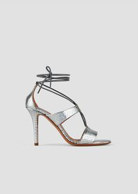 Armani Sandals with heel in metallic leather with