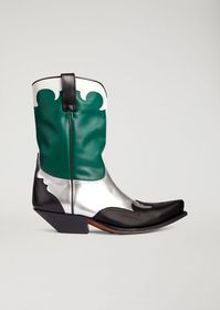 Armani Leather campero boots with metal inserts