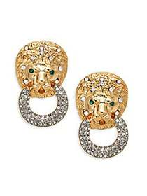 Kenneth Jay Lane Lion Head Doorknocker Clip-On Ear