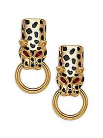Kenneth Jay Lane Leopard Doorknocker Clip-On Earri