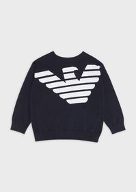 Armani Crew-neck sweater with embroidered logo fro