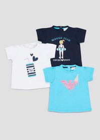 Armani Set of three t-shirts in soft jersey with s