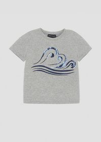 Armani Jersey T-shirt with Blue Waves print and se