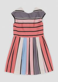 Armani Flared dress with colorful striped, pleated
