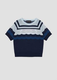 Armani Short-sleeved sweater with colorful stripes