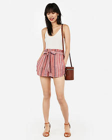 Express high waisted striped sash tie shorts