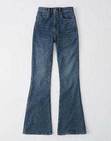 Ultra High Rise Flare Jeans, DARK FADED WASH
