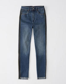 High Rise Ankle Jeans, DARK WASH WITH SIDE STRIPE