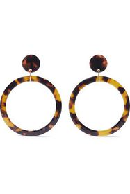 KENNETH JAY LANE Gold-tone tortoiseshell resin hoo