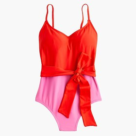 J. Crew Belted colorblock one-piece swimsuit