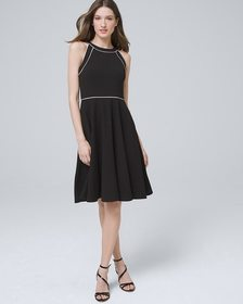 Piped Fit-and-Flare Dress