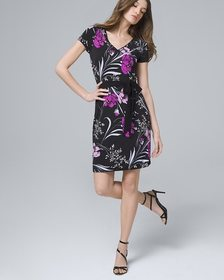 Reversible Floral/Solid Sheath Dress
