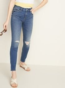 High-Waisted Distressed Pop Icon Skinny Jeans For
