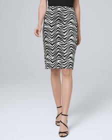 Reversible Abstract/Solid Pencil Skirt
