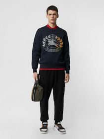 Burberry Embroidered Crest Jersey Sweatshirt in Na