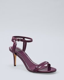 Lizard-Embossed Leather & Patent Strappy Heels