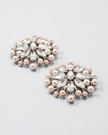 Faux Pearl & Bejeweled Shoe Clip