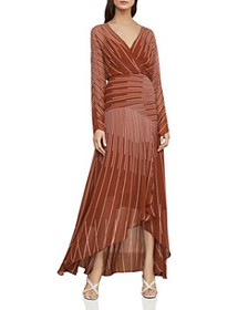 BCBGMAXAZRIA - Sunburst High/Low Chiffon Dress