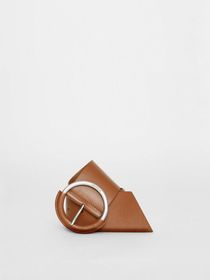 Burberry Round Buckle Leather Belt in Tan