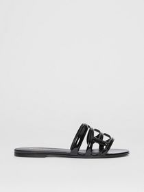 Burberry Monogram Motif Patent Leather Sandals in