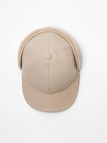 Burberry Leather and Shearling Cap in Limestone