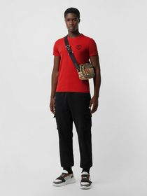 Burberry Embroidered Logo Cotton T-shirt in Milita
