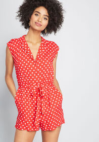 ModCloth ModCloth Read It and Steep Romper Red Pol