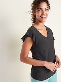 Breathe ON Relaxed Ruffle-Trim Tee for Women