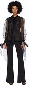 Marchesa Button Front Organza Blouse w/ Bow at Cuf